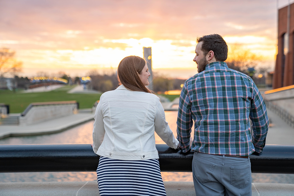 sunset engagement session Indy