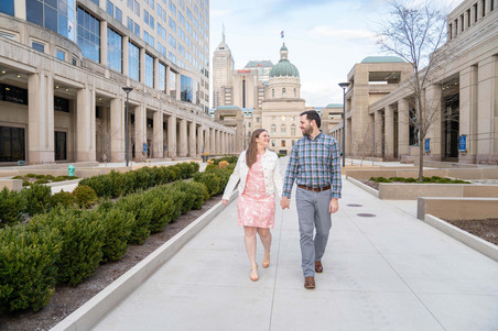 walking by the Indiana capital building