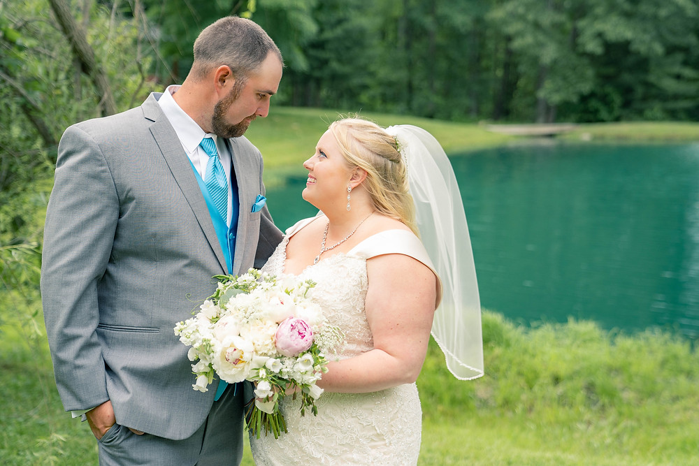 Bride and groom portrait photography for outdoor wedding in Indiana