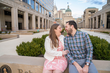 laughing in front of the Indiana capital building