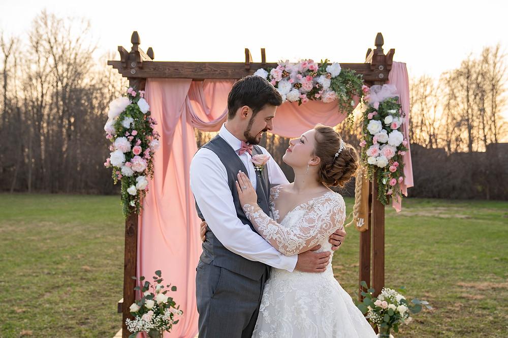 Bride and groom at Indiana wedding