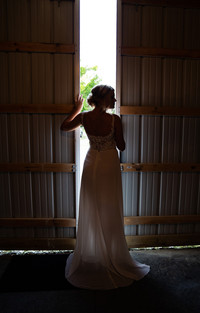 Silhouette of bride at Styled Shoot by Emma Males Photography at The Vineyard Gardens in Indianapolis Indiana