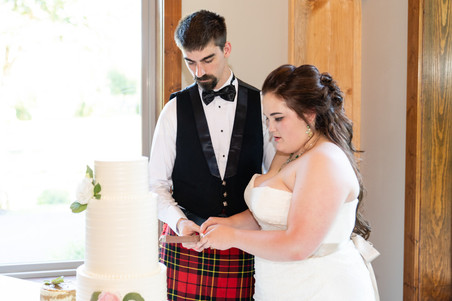 Indianapolis Wedding Photographer - bride and groom cutting cake