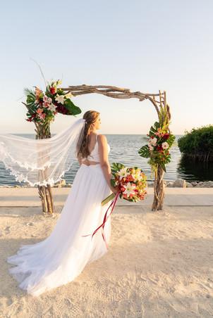 bride on the beach for a destination wedding