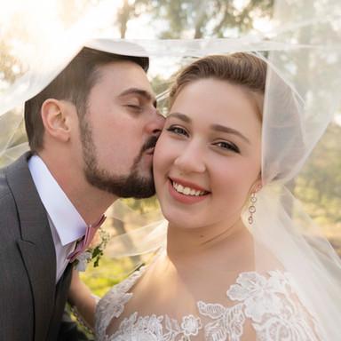 Bride and Groom Under Veil - Best Indianapolis Wedding Photographer