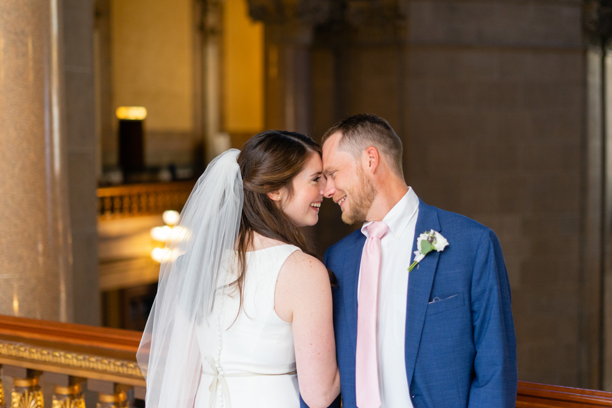 Bride and Groom looking at each other affectionately - Indianapolis Wedding Photographer Emma Males