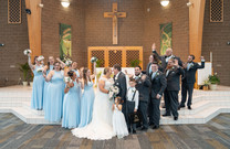 Published Indianapolis Wedding Photographer Emma Males - Wedding at St. Jude Catholic Church Indianapolis IN - Bridal Party in Church