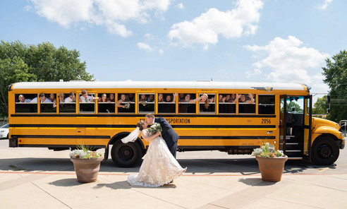 Indianapolis Wedding Photographer Emma Males - bride and groom in front of bus