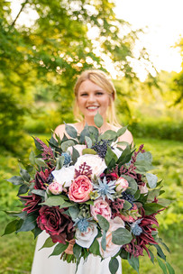 Bride and her bouquet at Styled Shoot by Emma Males Photography at The Vineyard Gardens in Indianapolis Indiana