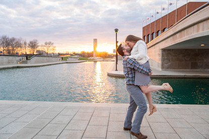 Sunset engagement photo on the Indianapolis canal