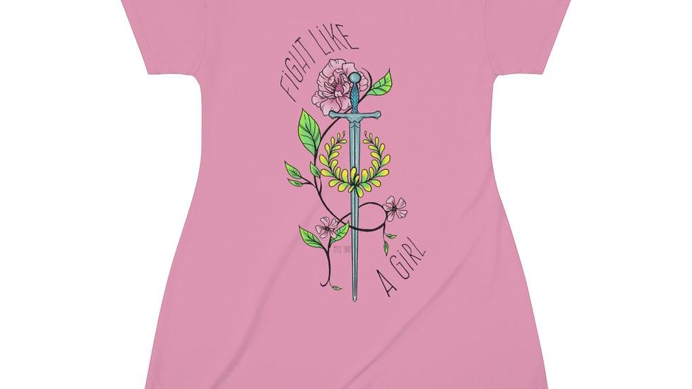 Fight Like a Girl Pink T-Shirt Dress