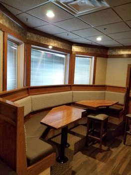 Ten foot banquette with custom table tops