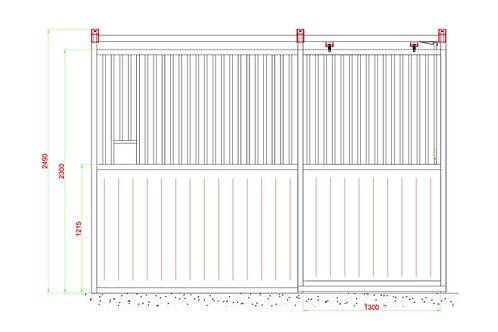 Standaard voorwand met schuifdeur 3,5 m