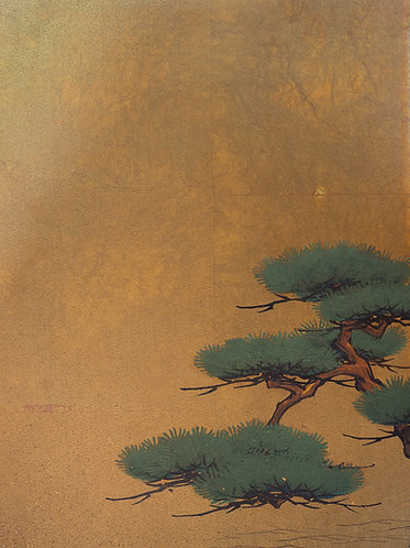 a small meiji period japanese gold screen. A seascape with pine trees on the near shore