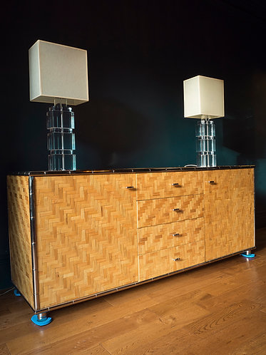 mid century italian bamboo sideboard with faux bamboo chrome frame