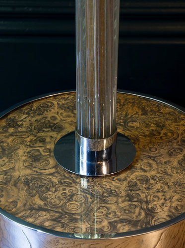 deco floor lamp comprising glass rods around a gilt brass central rod. Glass and chrome base with faux walnut surface