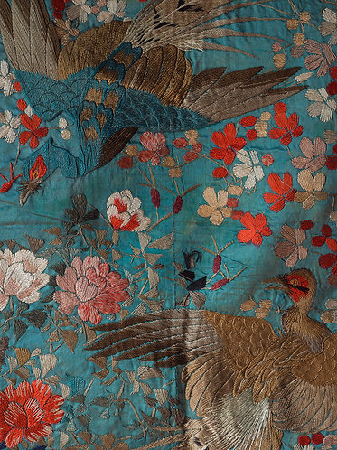 a large meiji period japanese silk fukusa with courting pheasants on a blue green silk ground