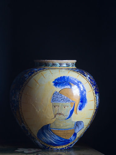 italian maiolica portrait vase in the 16th century style portraits of saints to front and verso on yellow ground