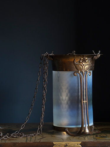 art nouveau vaseline glass hall lantern in gilded bronze with original chains