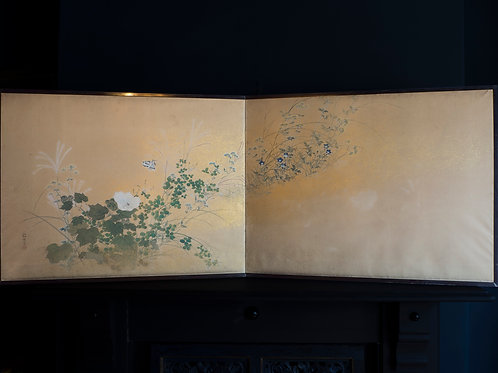 two fold japanese rinpa screen in ink watercolour and gold late edo period