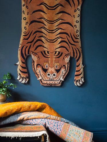 Vintage Tibetan Faux Tiger Hide Rug