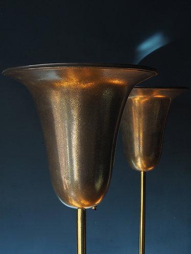 large art deco uplighters huge tulip shaped shades in acid washed gold finish