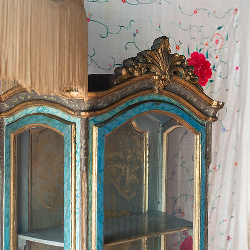 turquoise and gold faux marble painted vitrine with gilt scroll and trim