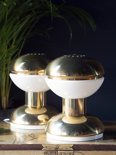 Mid century Sciolari gold and opaline table lamps