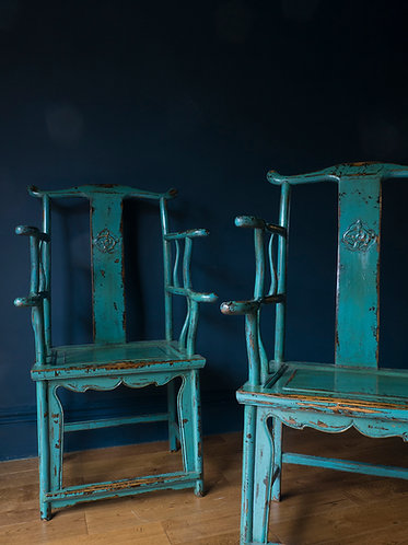 pair of yoke back chinese chairs in original teal paint