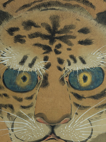 large framed japanese scroll painting, a tiger emerging from jungle, standing by a stream, staring at the viewer