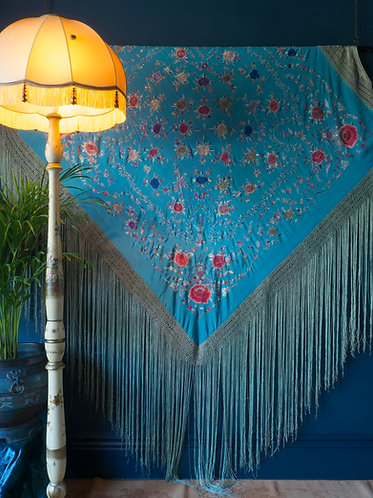 large chinese silk piano shawl embroidered with roses on a cerulean blue ground circa 1900
