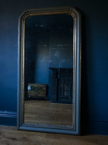 large painted french mirror. grey and parcel gilt, original distressed plate