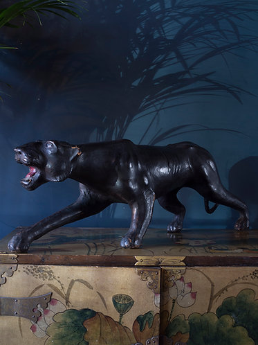 large carved and leather panther in the style of Liberty of London and Abercrombie and fitch
