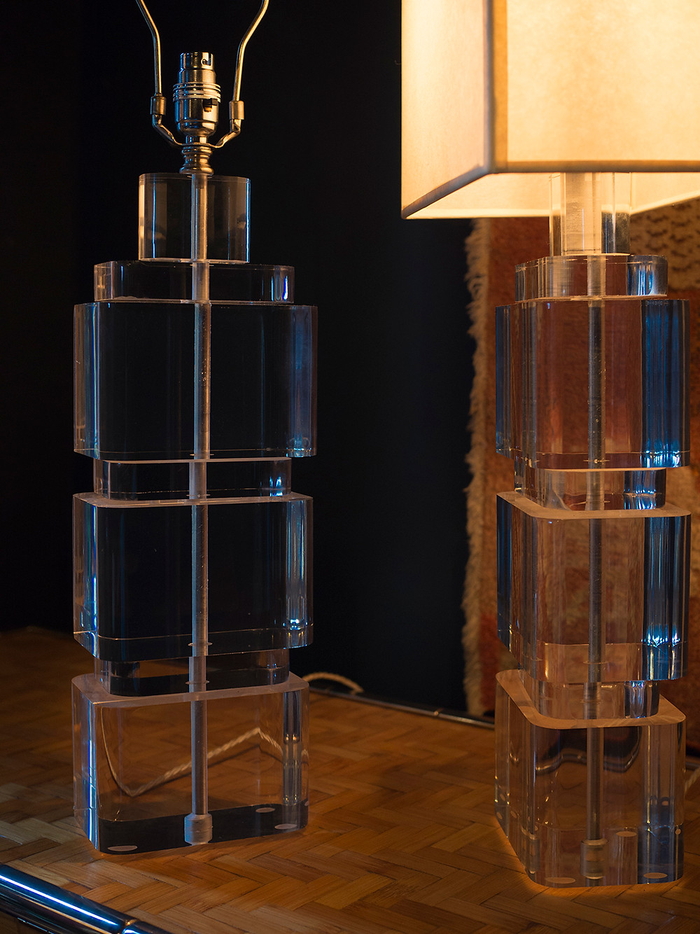 a pair of heavy and large clear lucite lamps, formed of individual rectanguar slabs
