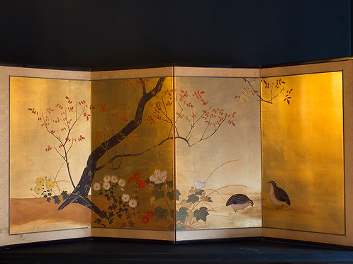 gold leaf japanese screen with a pair of quails among flowers edo period