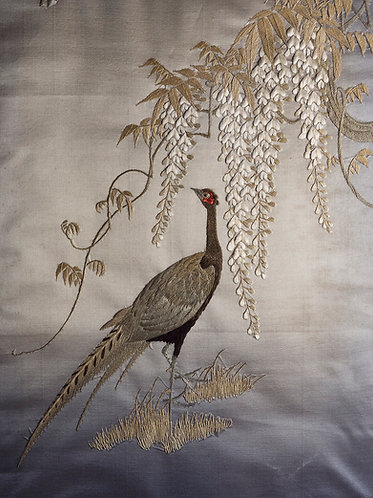 Japanese Meiji Silk Embroidery in original frame