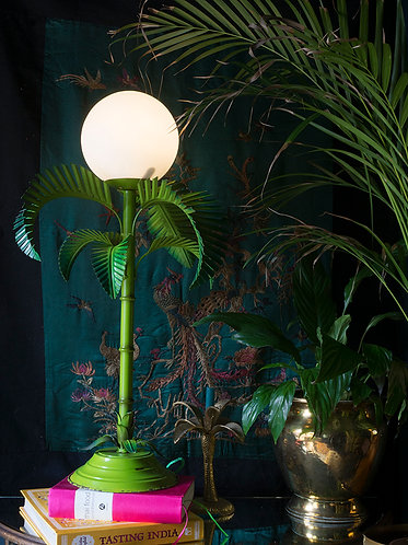 green painted 1970s italian palm lamp with white opaline shade original paint