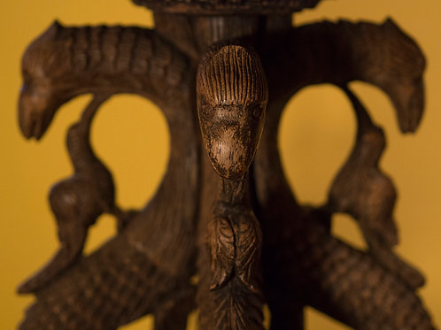 19th century carved Burmese jardiniere dragons and birds in mahogany