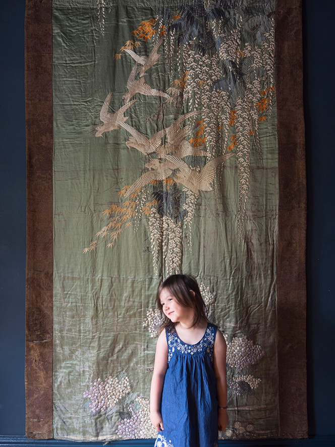 a large japanese meiji period embroidery on silk
