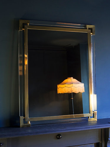 hollywood regency glamorous mirror in lucite and gilt brass frame