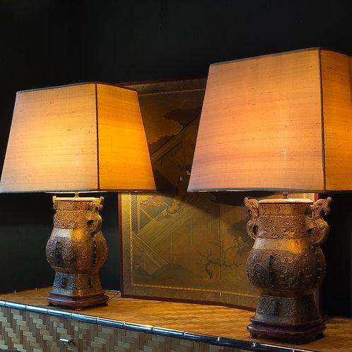 Gilt Brass James Mont lights with original shades