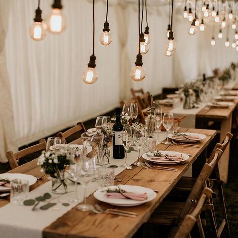 Festoon over a wedding table setup