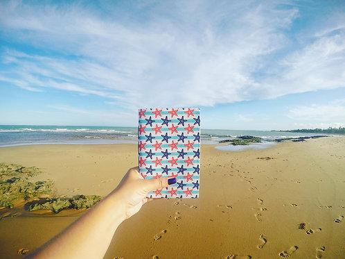 Caderno de Anotação de Viagem Artesanal - Estrelas do Mar