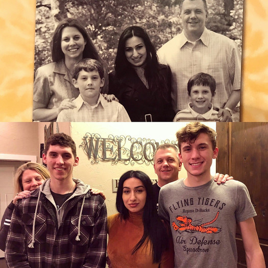 Two photos: one photo of FLEX student with her host parents and two younger host brothers, and the other photo of the student with her host family 10 years later
