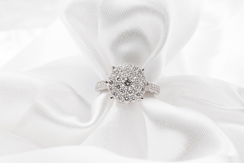 14K White Gold 1.32cttw Round Cluster Engagement Ring