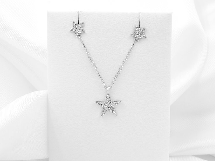 14K White Gold .10cttw Diamond Star Pendant