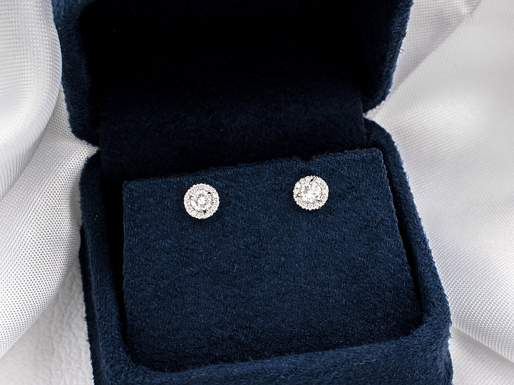 18K White Gold Halo Diamond Earrings