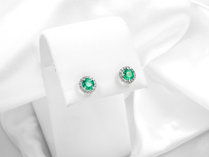 18K White Gold 5mm Round Diamond Emerald Earrings