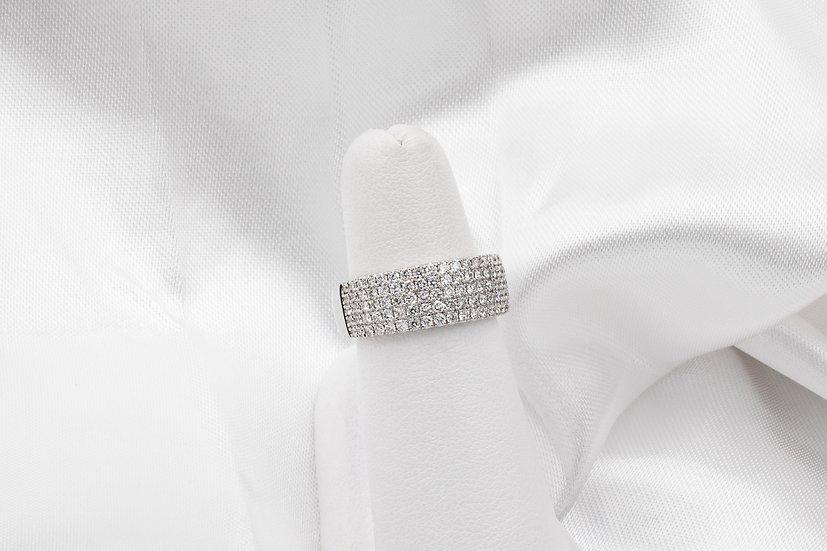 14K White Gold 1.12cttw Five Row Diamond Ring