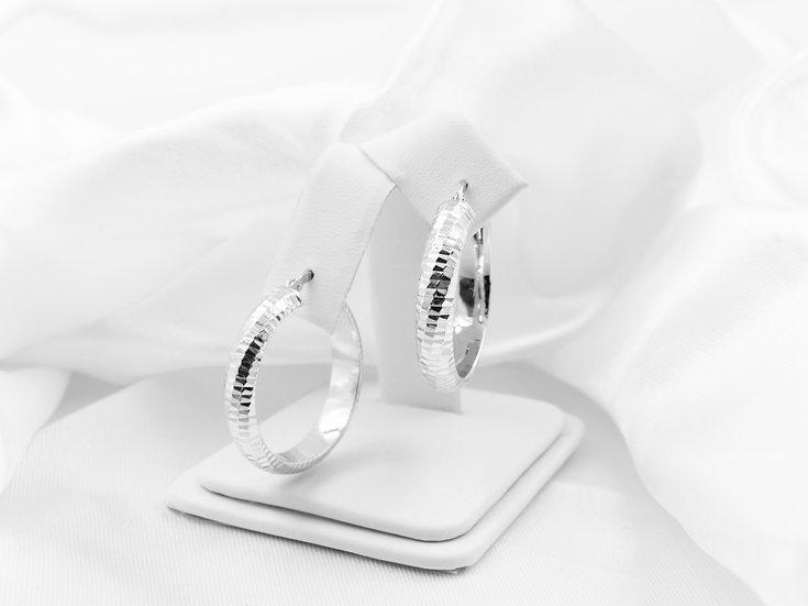 Sterling Silver Rough Design Hoop Earrings